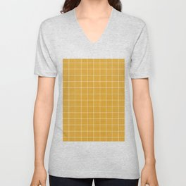 Small Grid Pattern - Mustard Yellow Unisex V-Neck