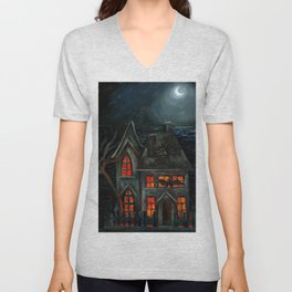Haunted House Unisex V-Neck