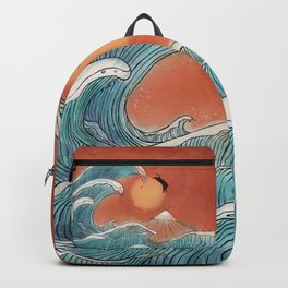 Ninja cat swim at the great wave Backpack