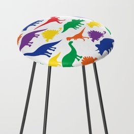 Dinosaurs - White Counter Stool