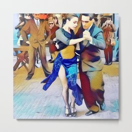 Buenos Aires Street Tango Dancers Metal Print