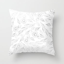 Elegant white silver hand drawn leaves flowers illustration Throw Pillow