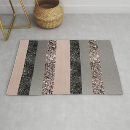 Blush Glitter Glam Stripes #1 #shiny #decor #art #society6 Rug
