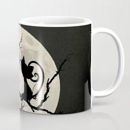 Black Cat Watching Flying Bird Moon Child's Kitty Bedroom Art A552 Coffee Mug