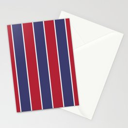 Large Red White and Blue USA Memorial Day Holiday Vertical Cabana Stripes Stationery Cards