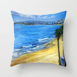 Long Beach Queen Mary with Seaguls  Throw Pillow