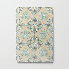 Vintage Floral - Light Blue Metal Print