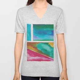 180811 Watercolor Block Swatches 11| Colorful Abstract |Geometrical Art Unisex V-Neck