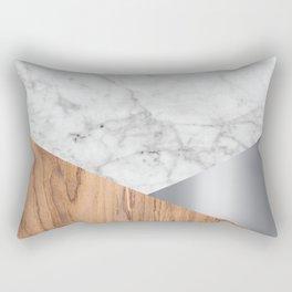 Geometric White Marble - Wood & Silver #157 Rectangular Pillow