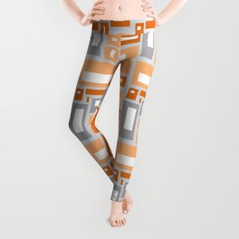 Simple Geometric Pattern in Peach and Gray Leggings