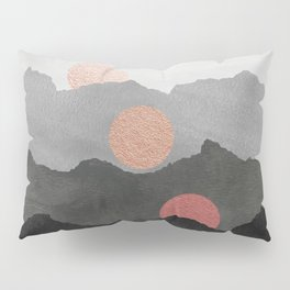 Mountains and the Moon - Black - Silver - Copper - Gold - Rose Gold Pillow Sham