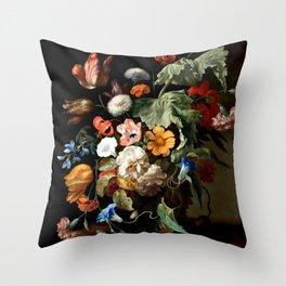 """Rachel Ruysch """"Still-Life with Flowers"""" Throw Pillow"""