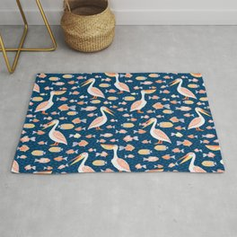 Pelicans eat fish. Seamless decorative pattern. Rug