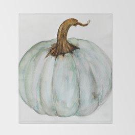 Blue-Gray Cinderella Pumpkin - Watercolor  Throw Blanket