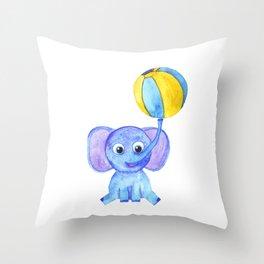 cute blue elephant with ball Throw Pillow