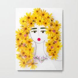 Savana, bright floral lady Metal Print