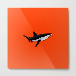 Bright Fluorescent Shark Attack Orange Neon Metal Print