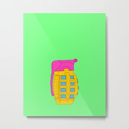 Yellow and Pink Toy Hand Grenade Metal Print