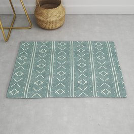 mud cloth stitch - dusty blue Rug