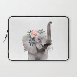 Baby Elephant with Flower Crown Laptop Sleeve