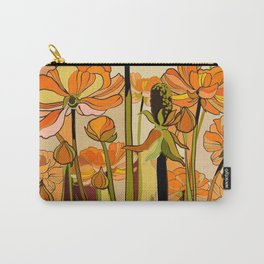 Orange California poppies, mid century, 70s retro, flowers Carry-All Pouch