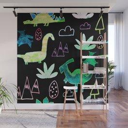 Dino Fun land Black Wall Mural