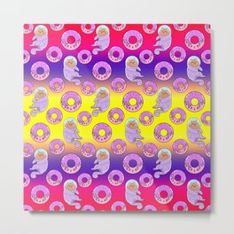 Cute sweet adorable Kawaii cats, funny pink yummy donuts with sprinkles colorful yellow purple pattern design. Space suits and astronauts. Sweet galaxy. Metal Print