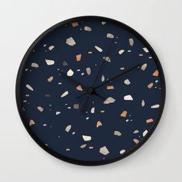 Midnight Navy Terrazzo #1 #decor #art #society6 Wall Clock