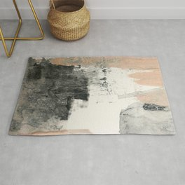 Peace and Quiet [1]: a pretty, minimal abstract piece in gray and peach by Alyssa Hamilton Art Rug