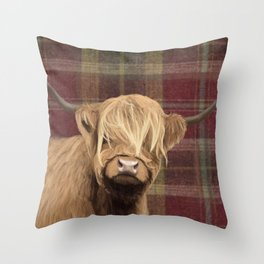 Highland cow print Throw Pillow