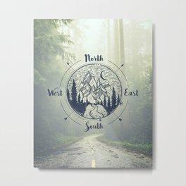 Compass Mountain Road Trip Metal Print