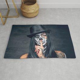 Dia De Los Muertos Day of the Dead Sugar Skull Model Makeup Ultra HD Rug