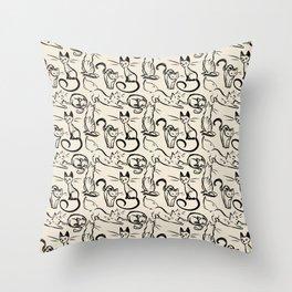 Sketch Cats Throw Pillow