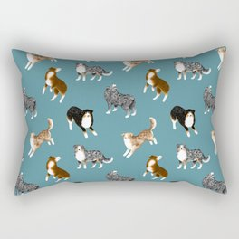 Australian Shepherd Pattern (Teal Background) Rectangular Pillow