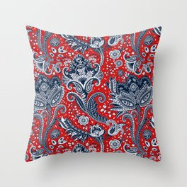 Red White & Blue Floral Paisley Throw Pillow