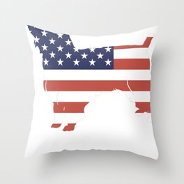 Australian-Silky-Terrier-tshirt,-patriotic-Australian-Silky-Terrier Throw Pillow
