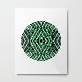 Green Circle African Dye Resist Fabric Adire Boho Chic Metal Print