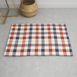 Plaid Red White And Blue Lumberjack Flannel Rug