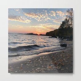 Lake Autumn sunset Metal Print