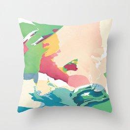 Soft pop meadow Throw Pillow