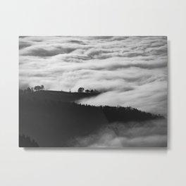 Misty Foggy Minimalist Landscape Photography Black & White Mountain Forest Metal Print
