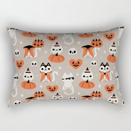 Halloween Kitties (Gray) Rectangular Pillow