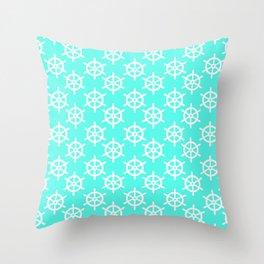 Ship Wheel (White & Turquoise Pattern) Throw Pillow
