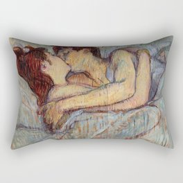 Henri De Toulouse Lautrec In Bed The Kiss Painting Rectangular Pillow