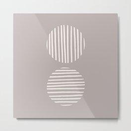 Inverted Mauve Circle Lines Metal Print