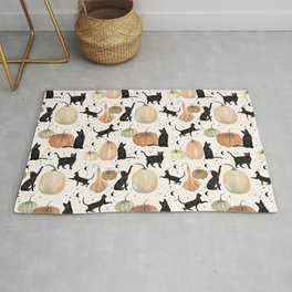 Black Cats Pumpkin Patch Fall Halloween Pattern Rug