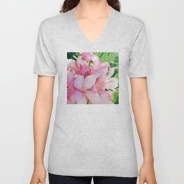 Pink Flowers In Sunlight and Shadows Unisex V-Neck