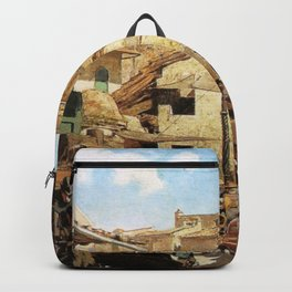 Mercato Vecchio A Firenze 1882 By Telemaco Signorini | Reproduction | Italian Painter Backpack