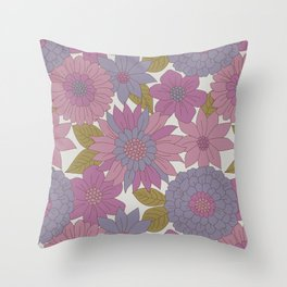 Pink & Purple Retro Floral Pattern Throw Pillow