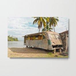 Playa Larga Bus Cuba Beach Hobo House Landscape Tropical Island Home Caribbean Sea Metal Print